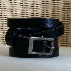 BFG Raw Black Leather Straps & Buckle Cuff